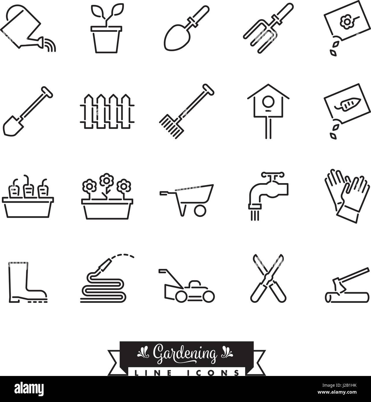 Collection de 20 icônes de ligne de vecteur de jardinage Photo Stock