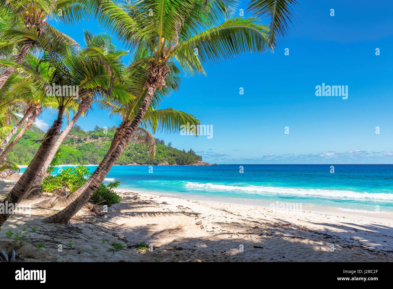 Plage Anse Intendance incroyable, l'île de Mahé, Seychelles. Photo Stock