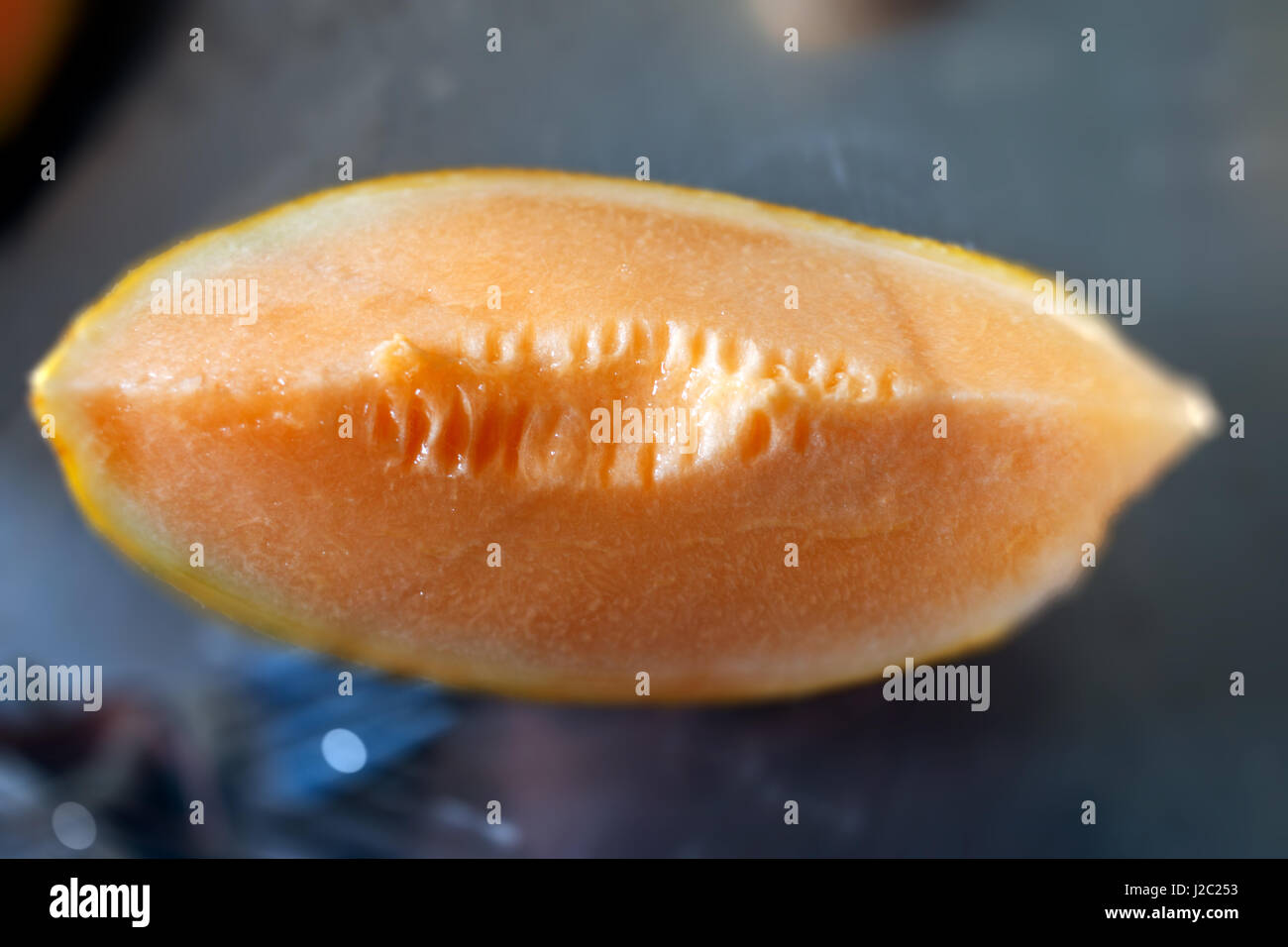 Close-up de tranche de melon Photo Stock