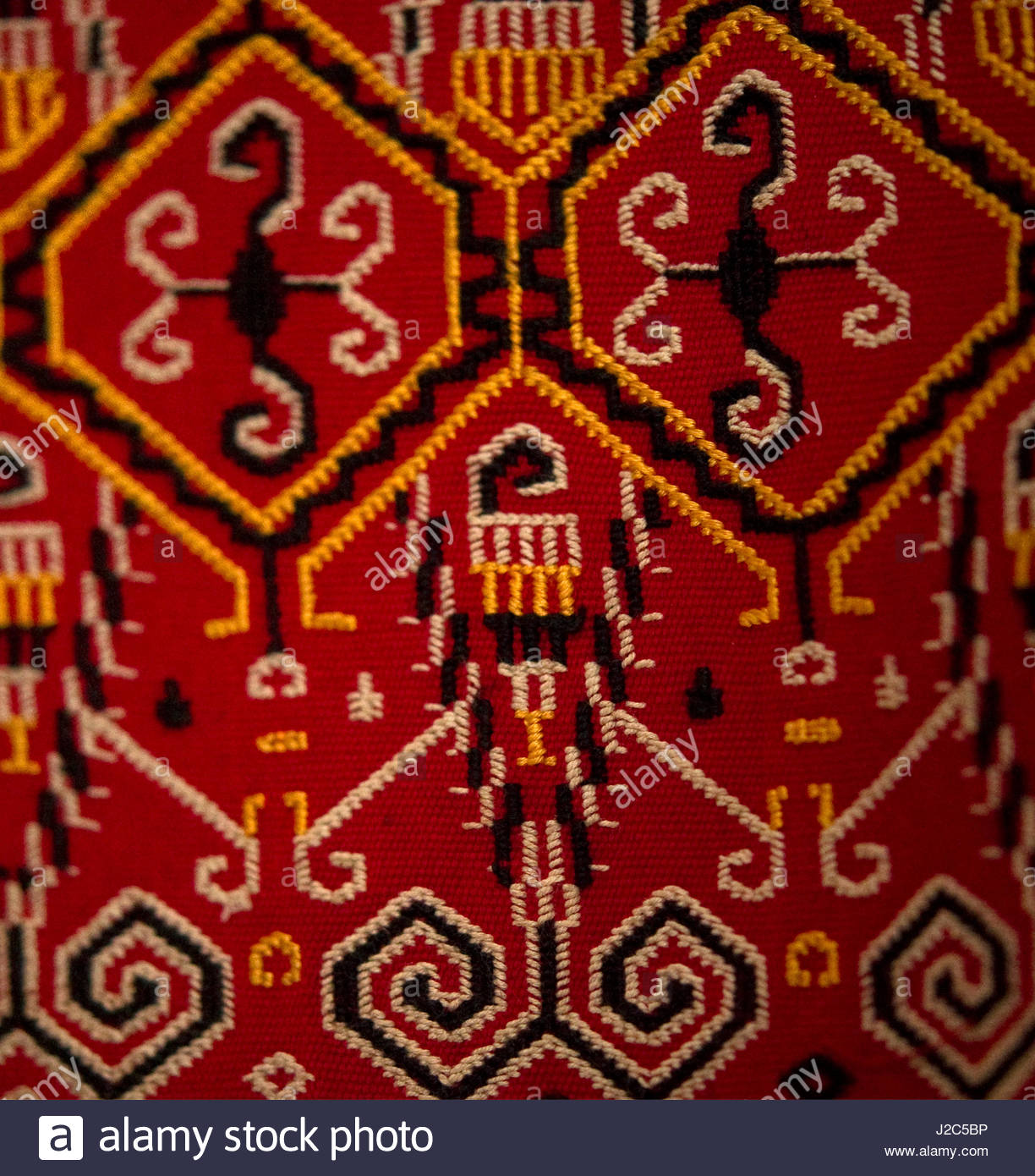 D'Antique Motif Textile Asiatique (PR) Photo Stock