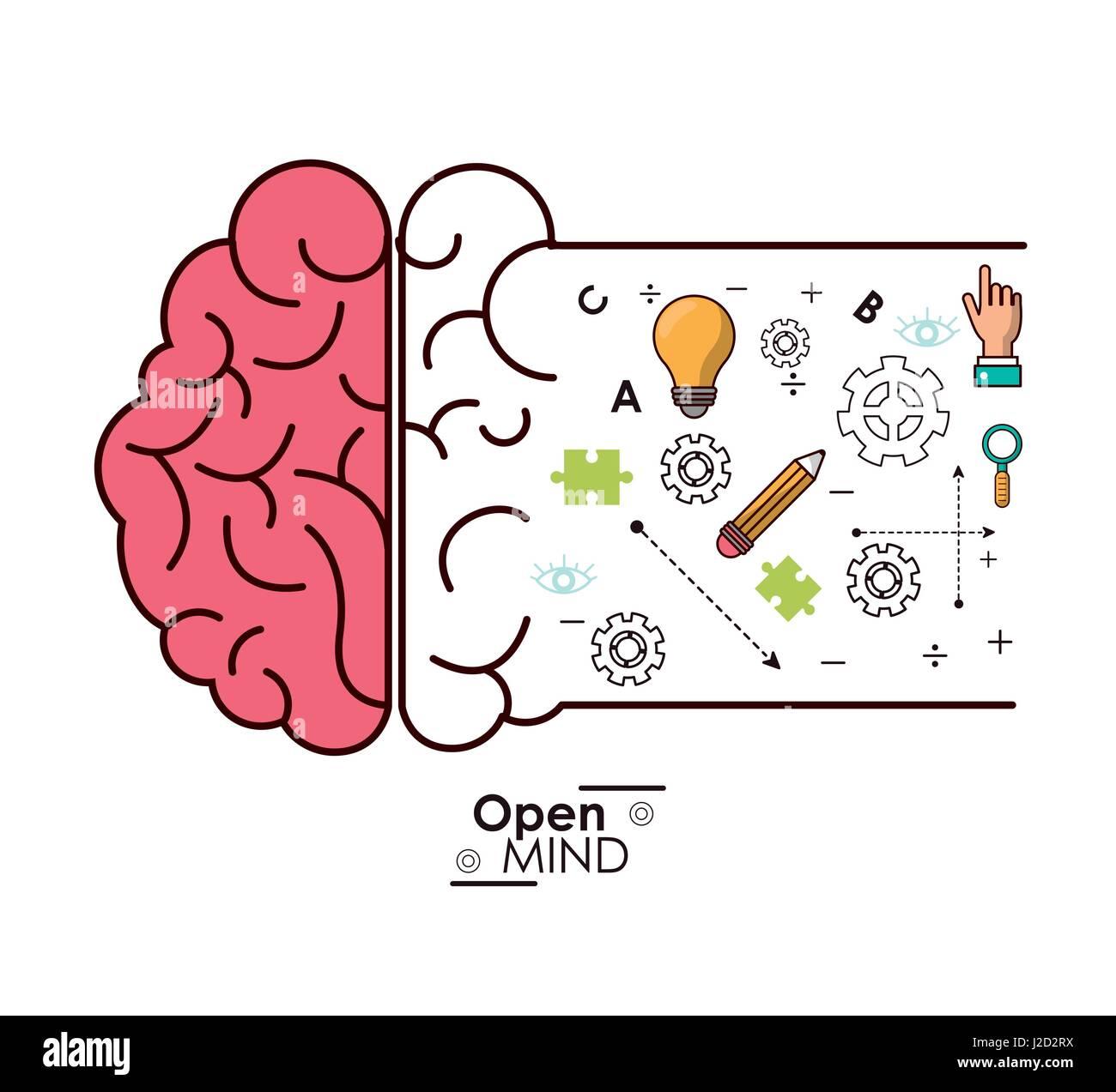 Ouverture d'esprit l'intelligence du cerveau idée d'innovation Illustration de Vecteur
