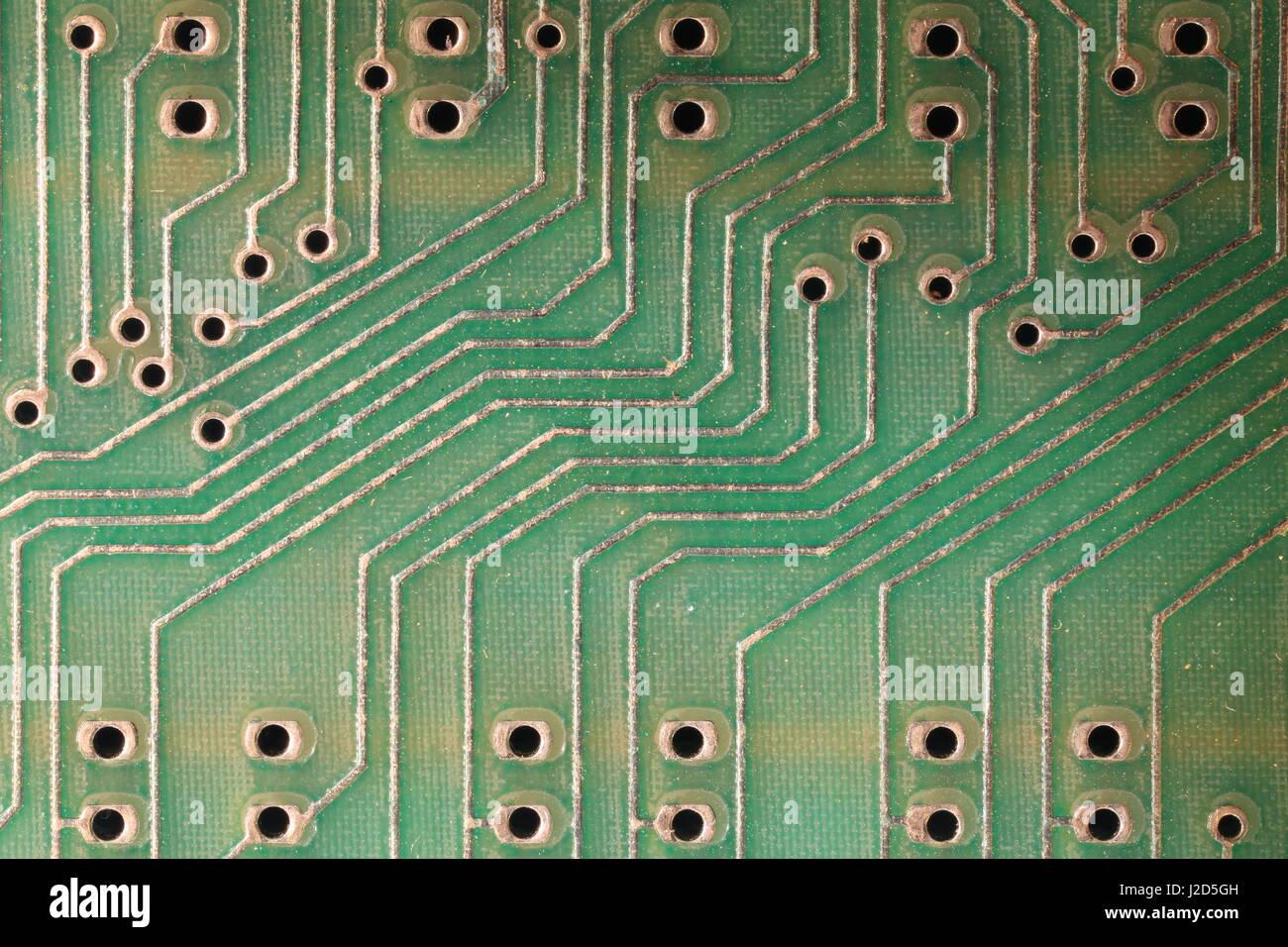 Circuits sur un ordinateur de circuits imprimés (PCB) Photo Stock