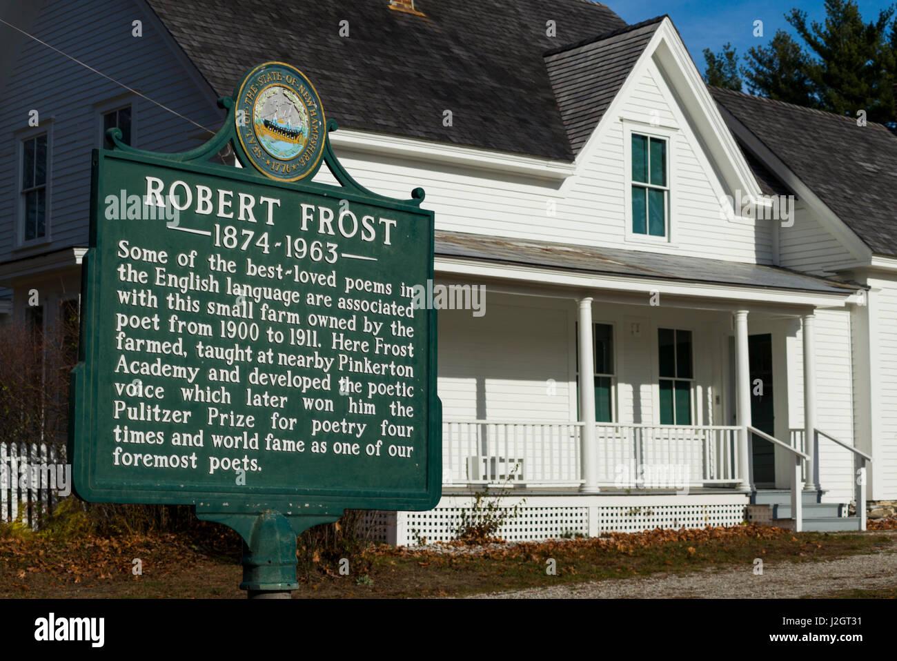 USA, New Hampshire, Derry, ferme et ancienne résidence du poète Robert Frost, sign Banque D'Images