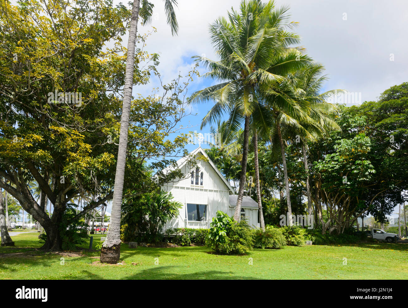 Quartier historique de St Mary's by the Sea, l'église en bois blanc, Port Douglas, Far North Queensland, Photo Stock