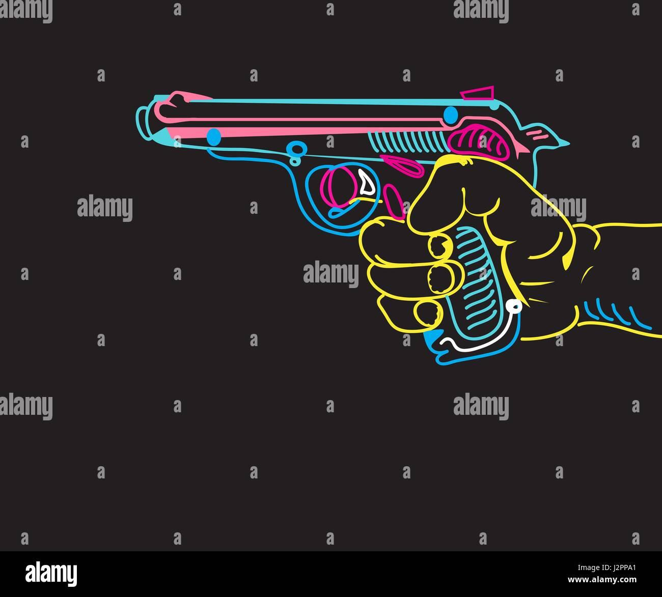 Main avec une arme à feu Photo Stock