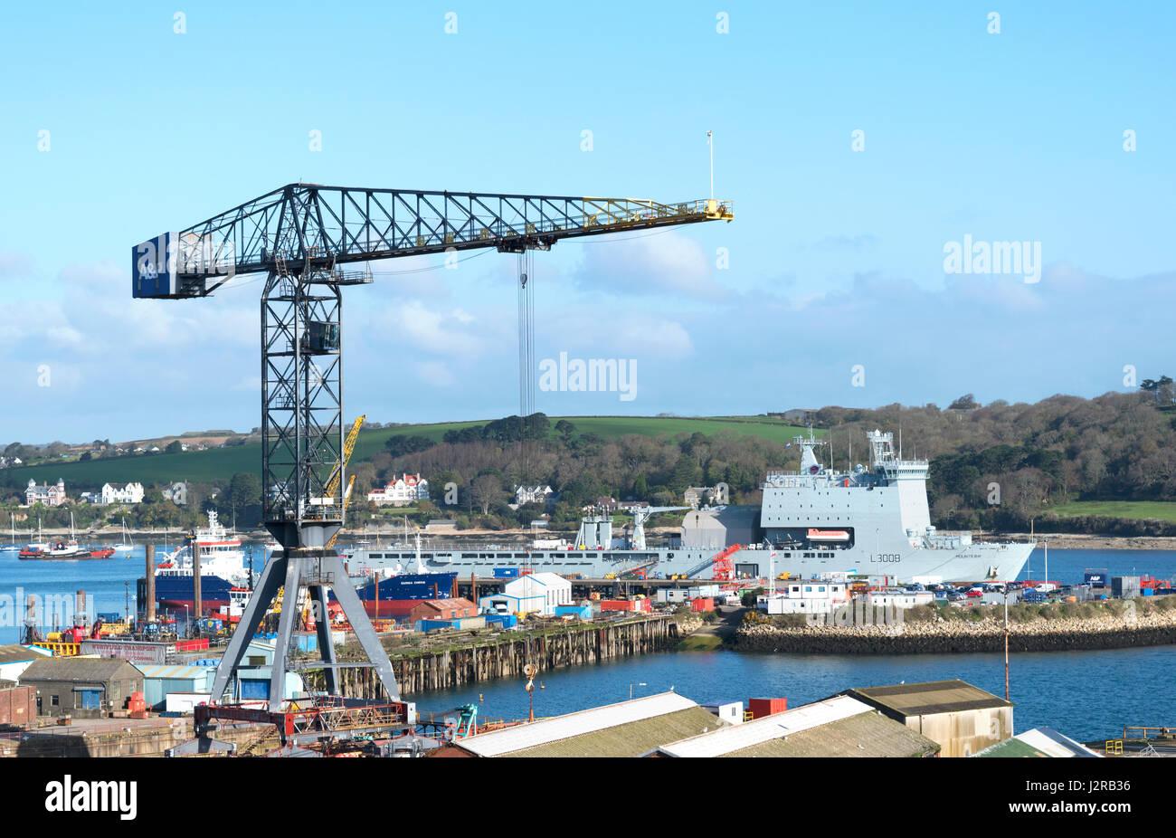 Chantier Pendennis à Falmouth docks à Cornwall, Angleterre, Grande-Bretagne, Royaume-Uni. Banque D'Images