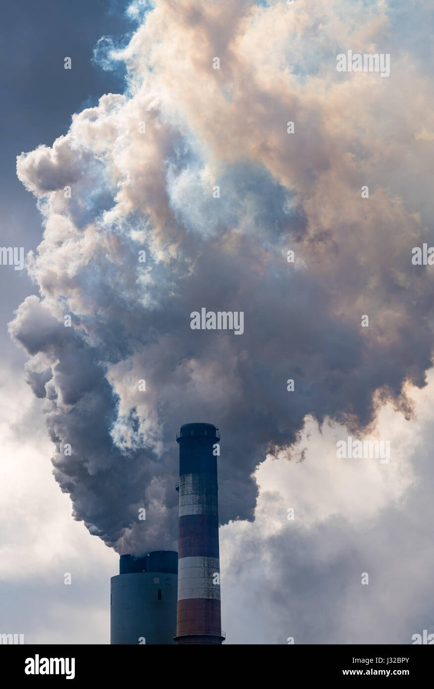 Centrale thermique au charbon de la pollution de l'air, USA Photo Stock