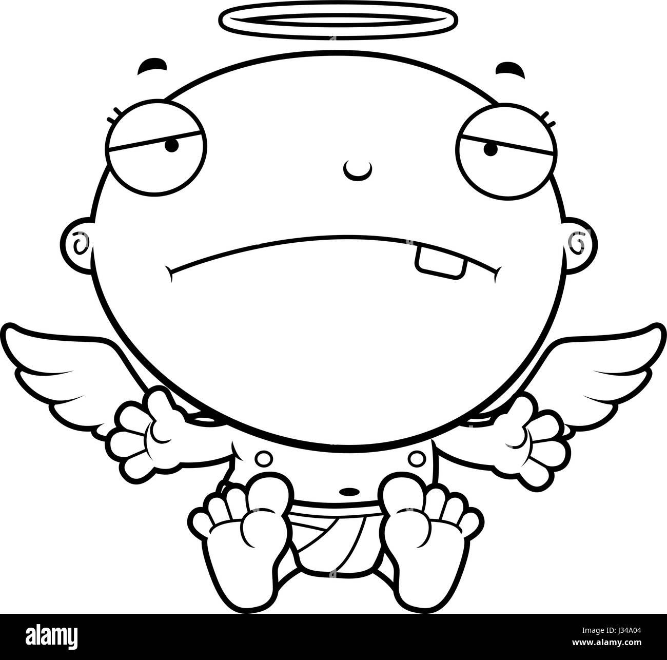 Une Illustration D Un Dessin Animé Bébé Ange à La Triste