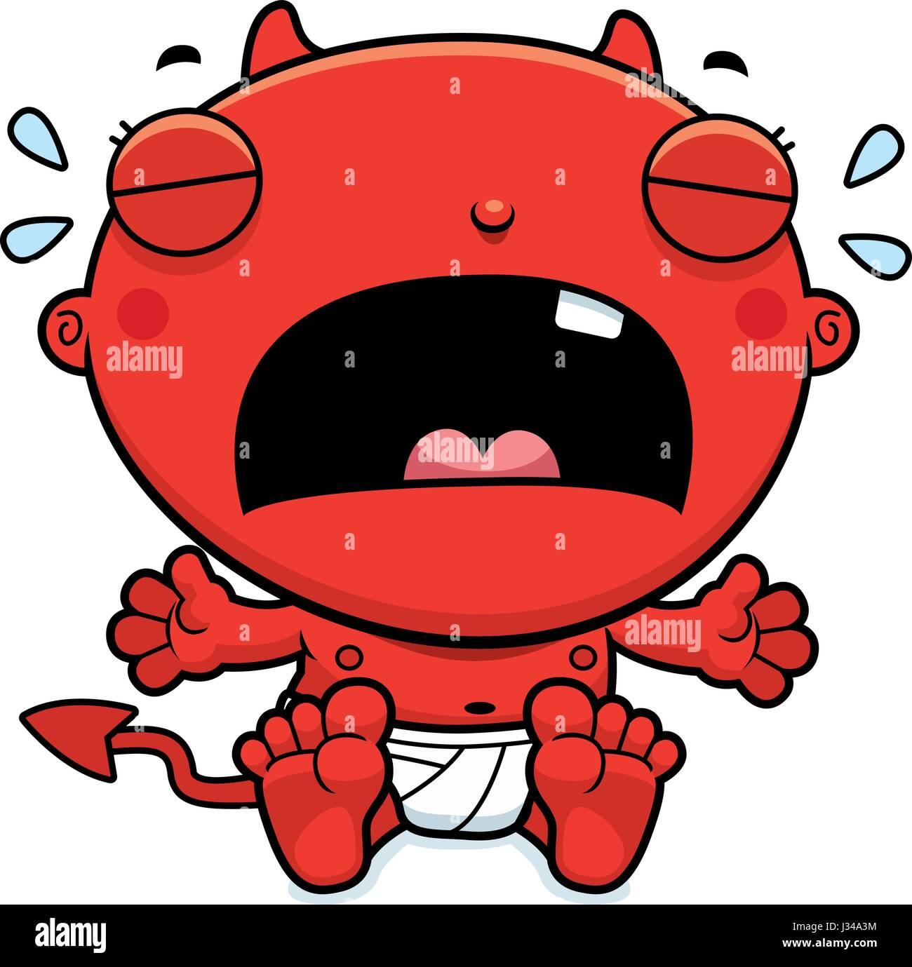 Une Illustration D Un Dessin Animé Bébé Diable Pleurer