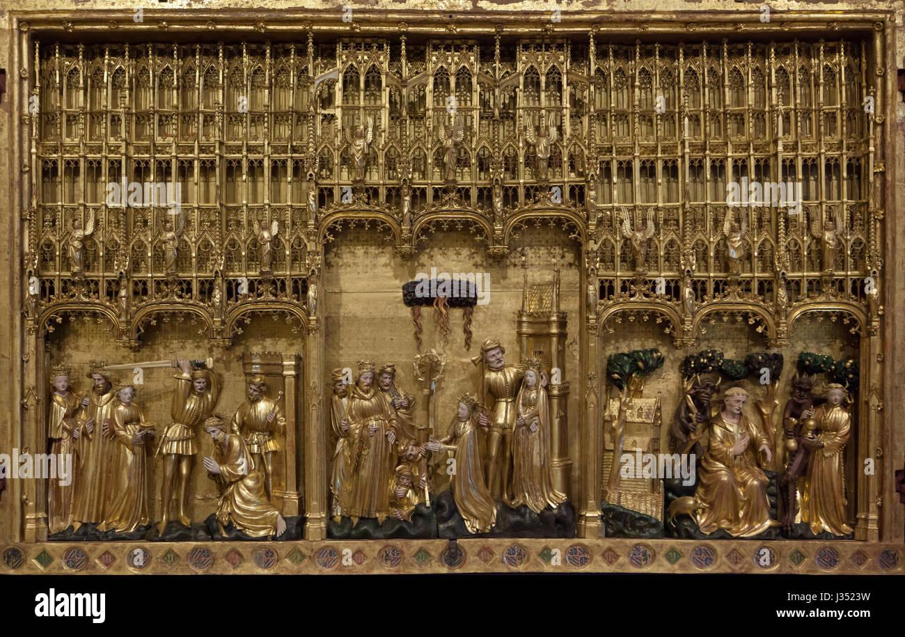 Retable des Saints et des Martyrs de la Chartreuse de Champmol par sculpteur Renaissance flamande Jacques de Baerze Photo Stock