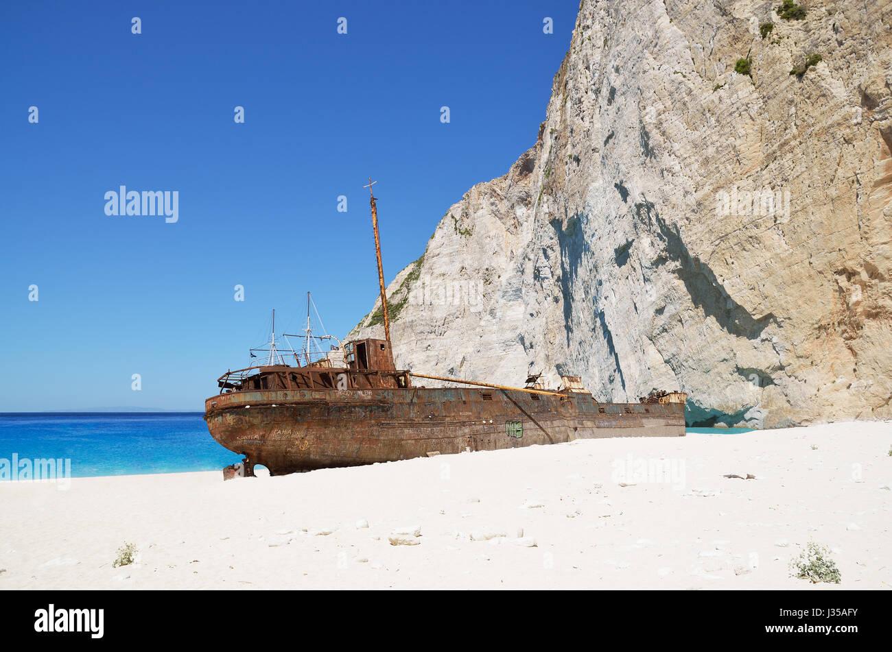 Naufrage de la plage de Navagio a Zakynthos Photo Stock