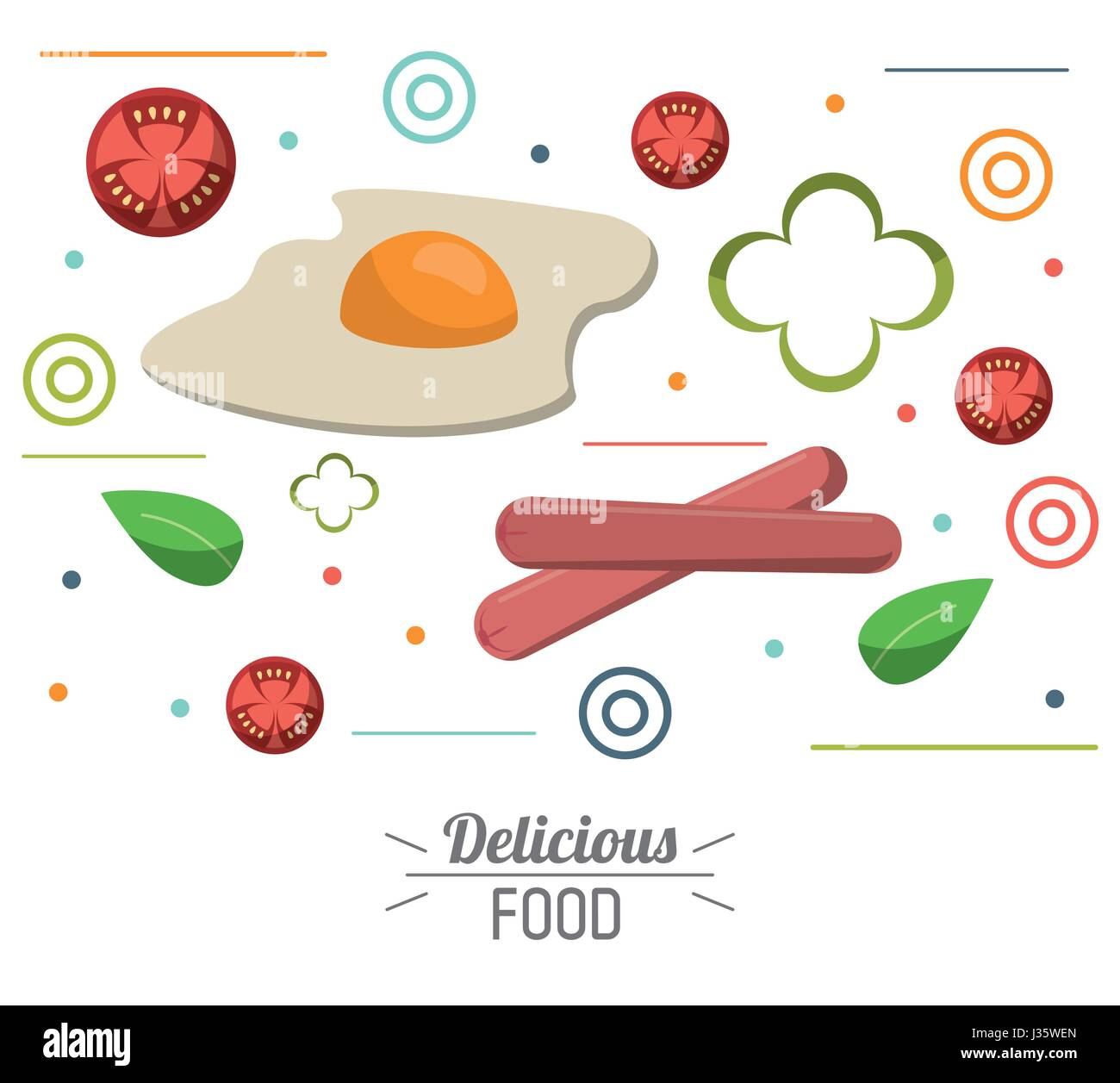 La nourriture délicieuse Tomate saucisses oeufs poster Illustration de Vecteur