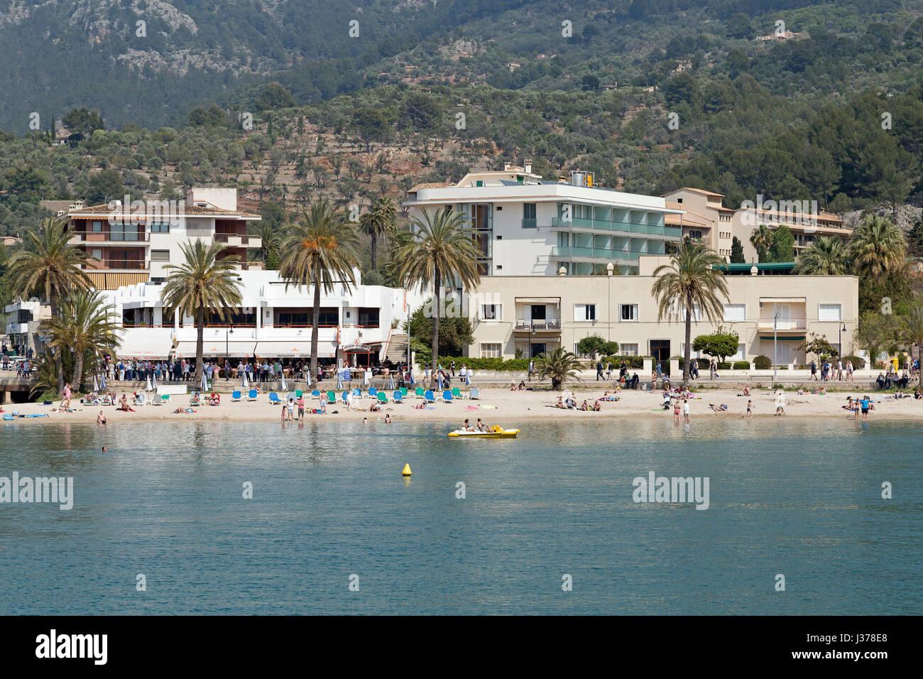 Plage à Port de Soller, Majorque, Espagne Photo Stock