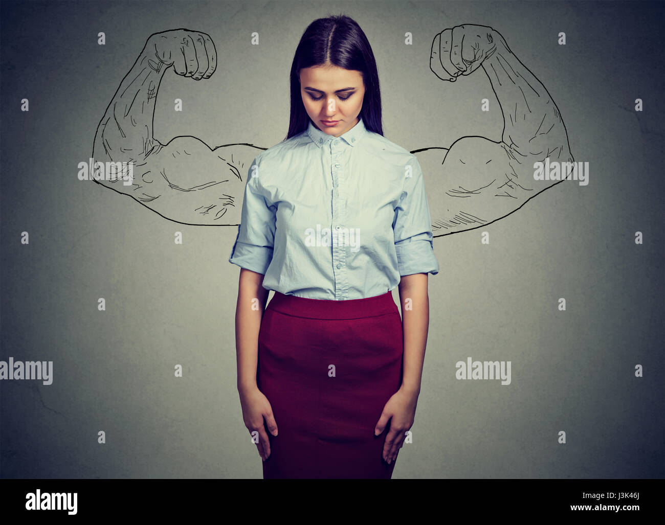 Fille puissante réalité vs ambition utopique concept. Visage humain expressions, émotions. Sad woman Photo Stock