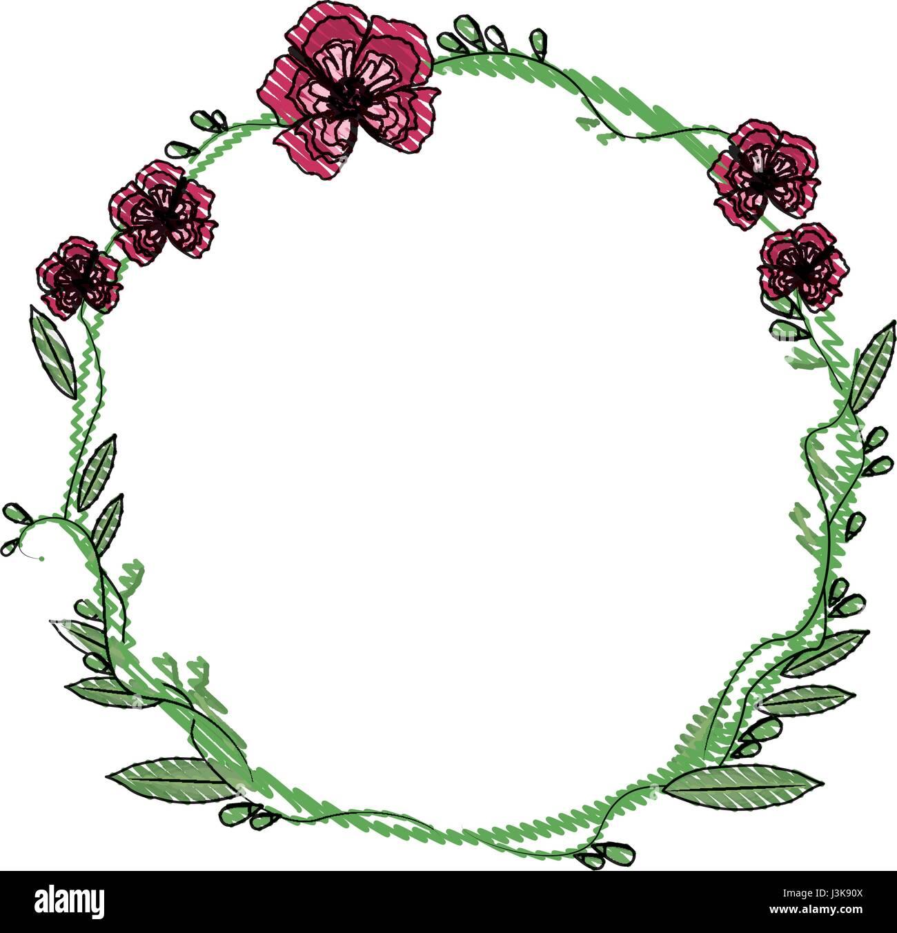 Couronne De Fleurs Décoration Fleurs Dessin Vecteurs Et Illustration