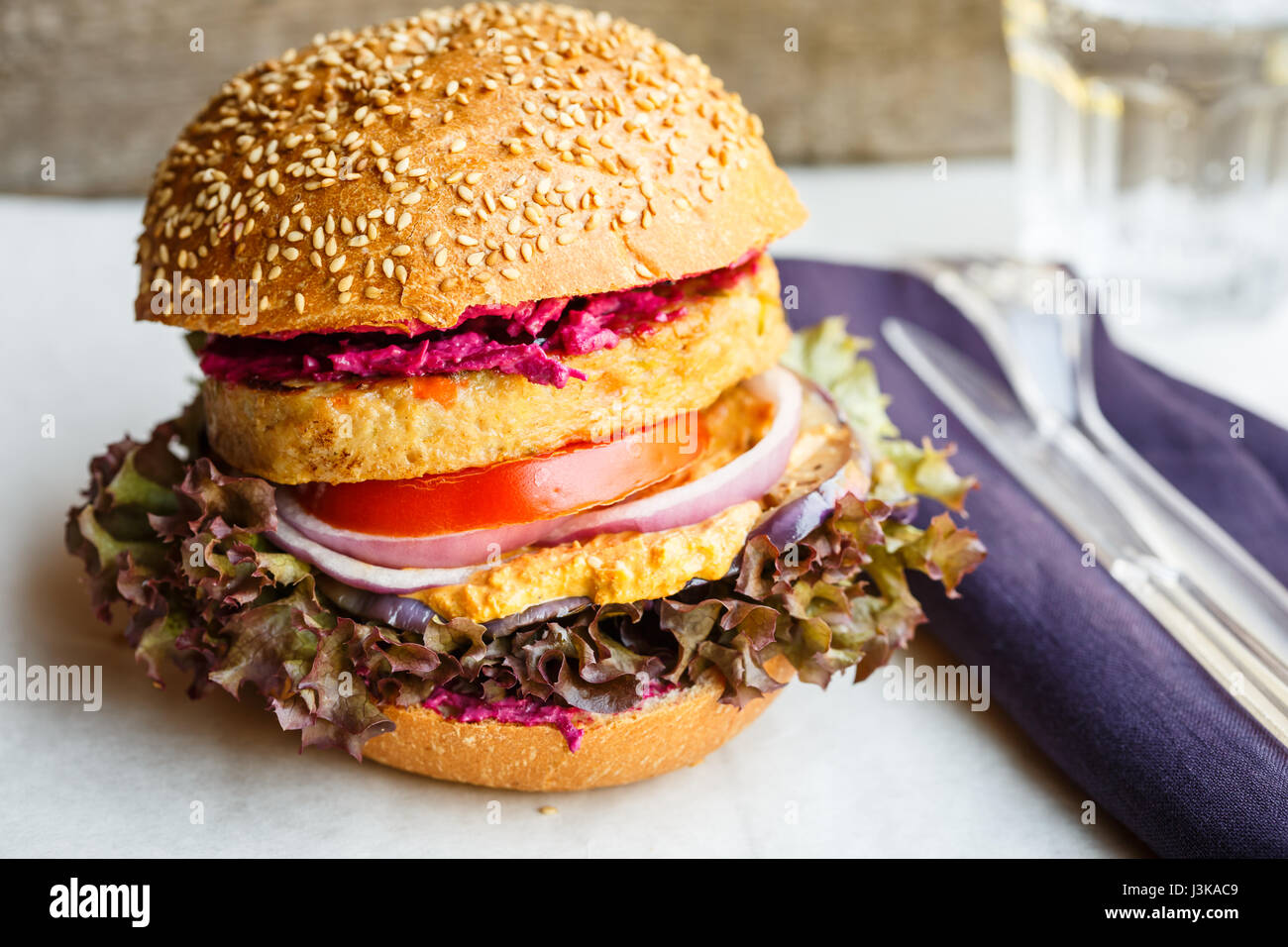 Hamburger végétarien Photo Stock