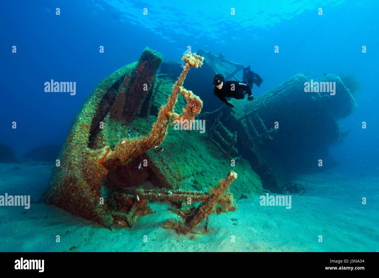 Apnoe, plongeur apnéiste, apnée, plongée avec tuba, épave, MV Elviscot, construit en 1960, coulé Photo Stock
