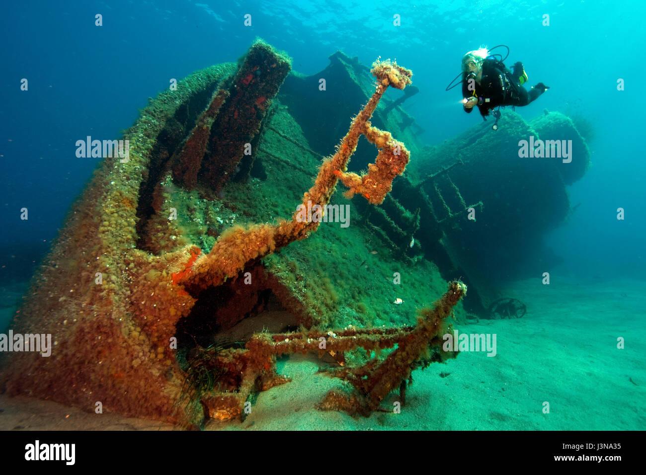 Plongée sous marine à l'épave, MV Elviscot, construit en 1960, coulé en 1972, s'est Photo Stock