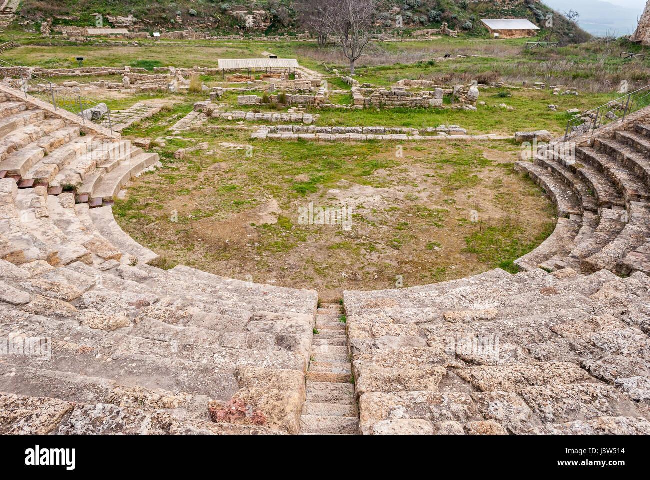 Le théâtre de l'ancienne ville grecque de Morgantina, en Sicile Photo Stock
