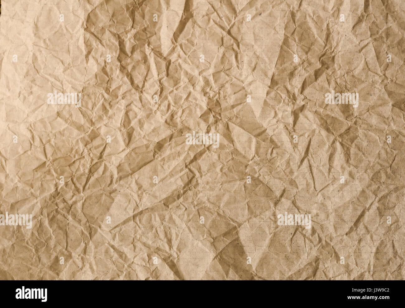 Papier froissé marron texture background Photo Stock