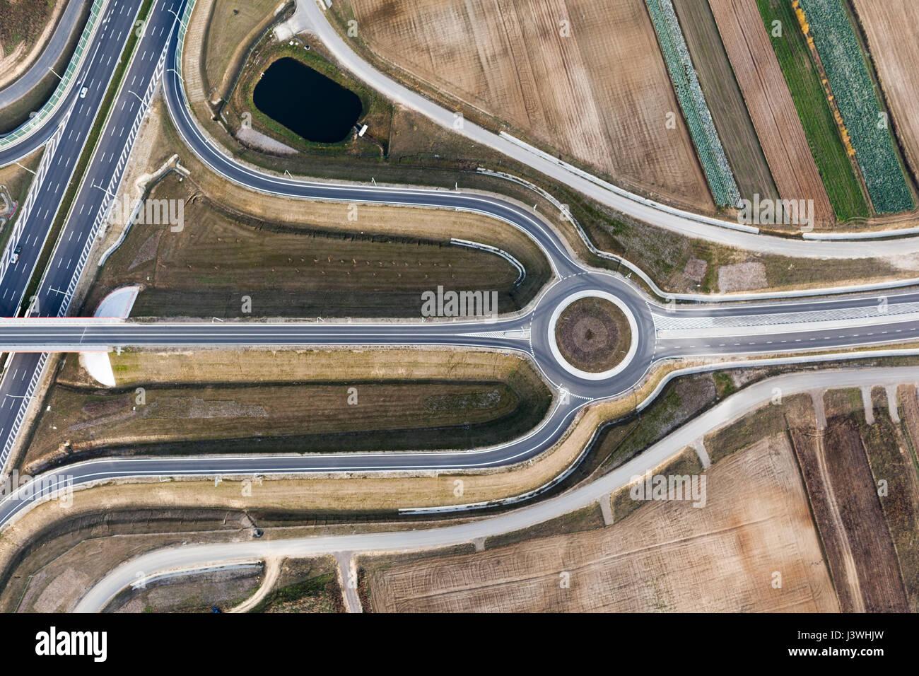 Intersection des autoroutes haut de vue Photo Stock