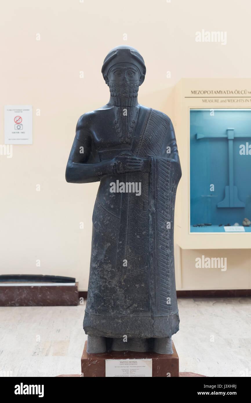 Statue avec l'inscription, Puzur Ishtar, gouverneur de Mari, ancienne période babylonienne, 1894-1594 avant Photo Stock