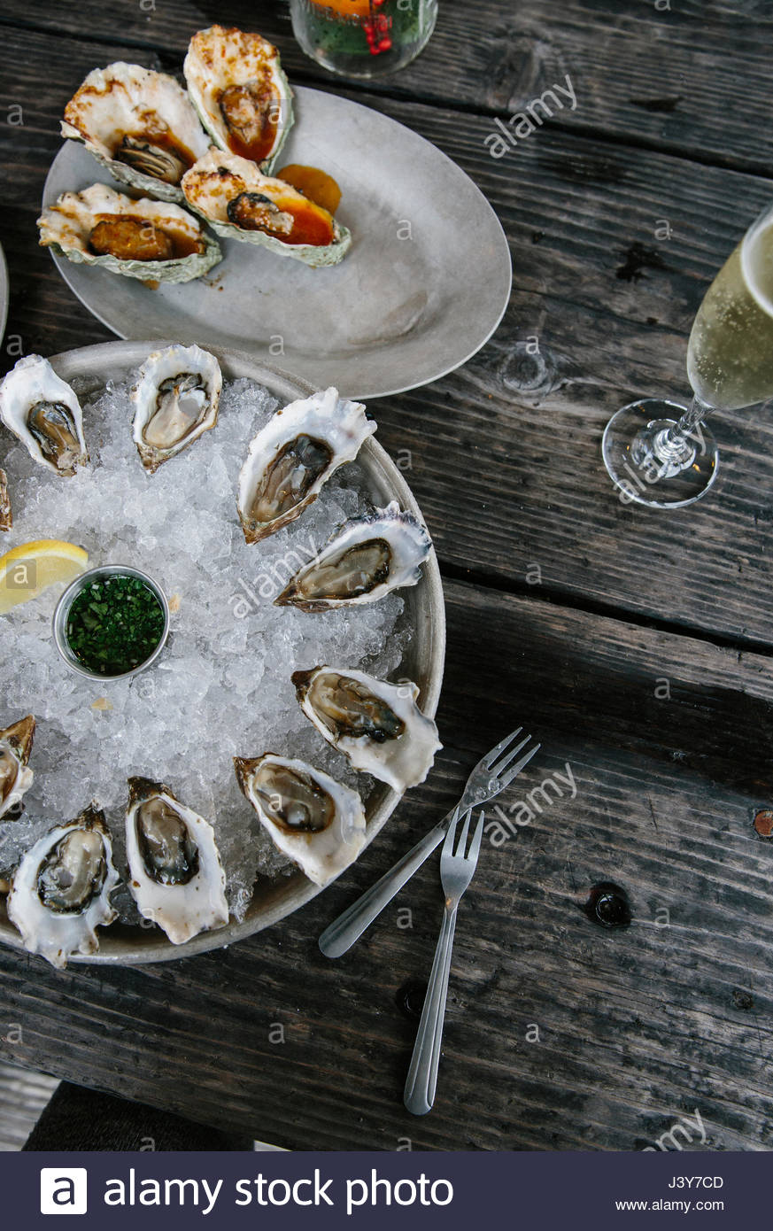 Les huîtres, Baie Tomales, comté de Marin, en Californie, USA Photo Stock