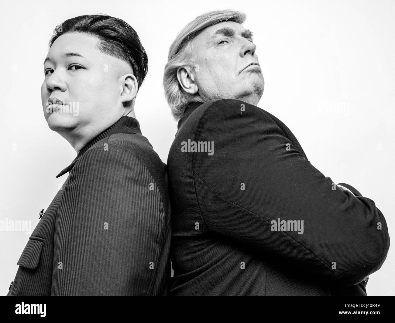 Le président donald trump et sosie dirigeant suprême de la corée du nord kim jong un shoot portrait sosie une histoire damour improbable de deux