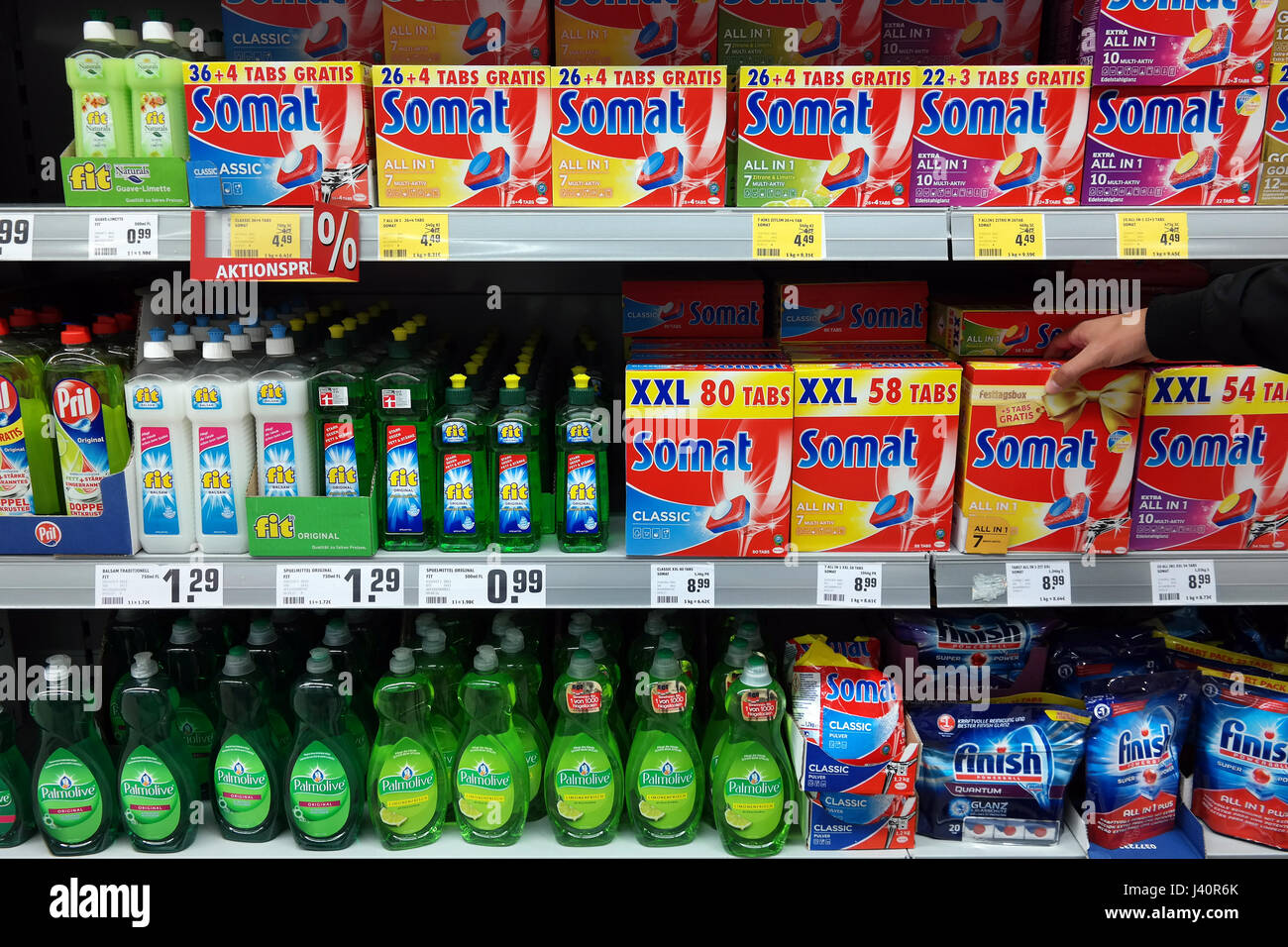 Détergent pour lave-vaisselle automatique, Somat, lave-vaisselle, Photo Stock