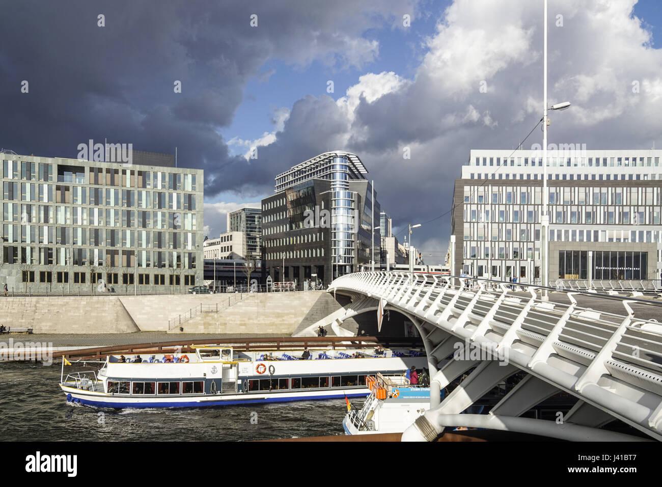 Excursion en bateau le long de la rivière, Suppr Kronprinzen bridge et de l'architecture moderne, Santiago Calatrava, Banque D'Images