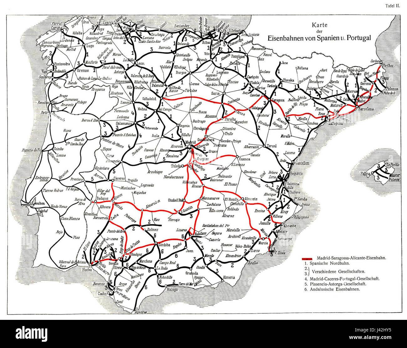 carte chemin de fer Carte des chemins de fer espagnols et portugais Banque D'Images