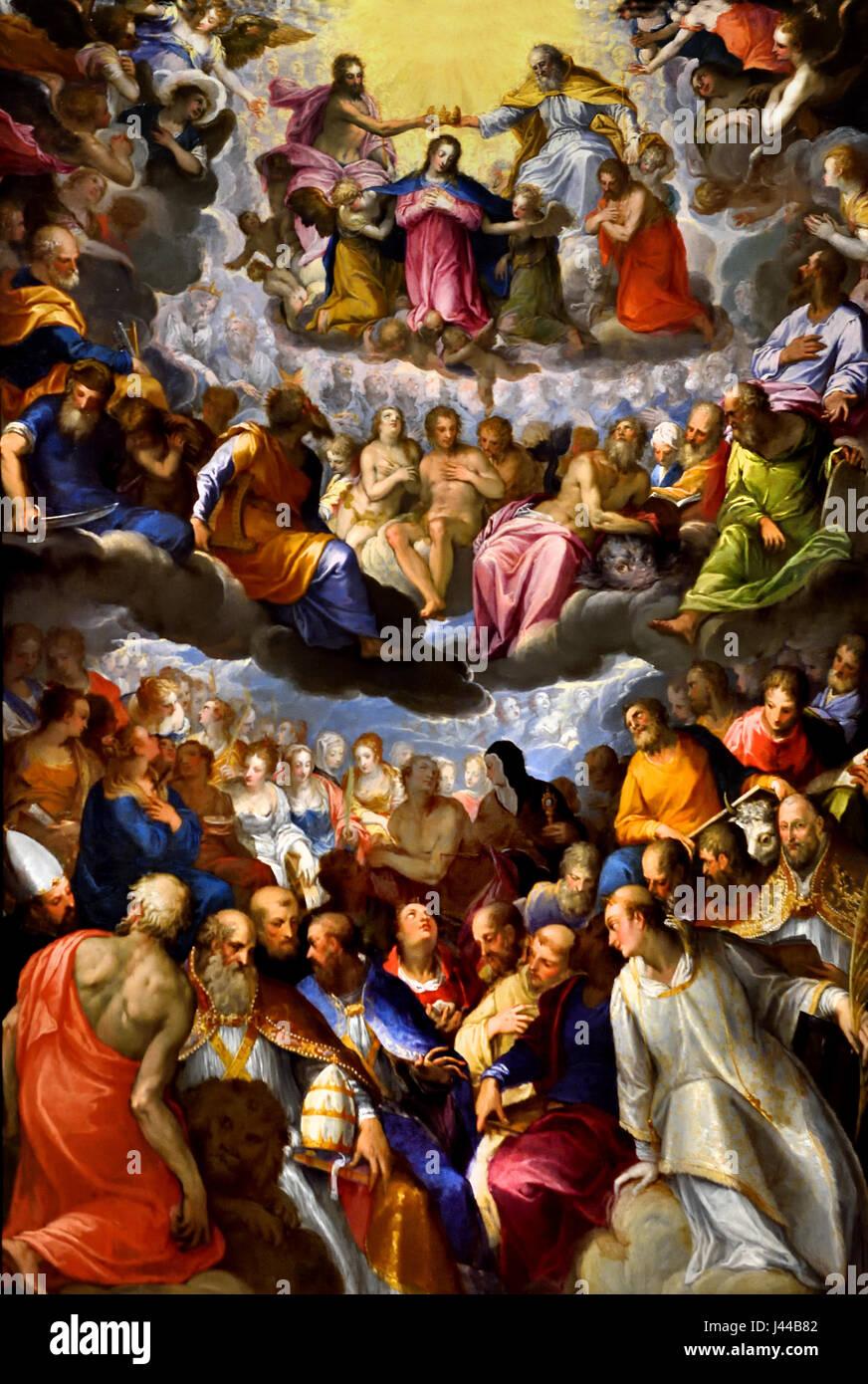 Le couronnement de la Vierge, Johann Rottenhammer 1596-1606 1564 - 1625 Italie italien ( Les principaux chiffres du plus bas niveau de la composition sont Saint Lawrence avec martyr's palm et pierre (à droite), et Saint Jérôme avec son lion (à gauche), accompagné par les autres Pères de l'Eglise latine. La Vierge au sommet est couronné par le Christ et Dieu le Père, avec Adam et Eve juste au-dessous. Les Saints Pierre et Paul (gauche et droite) sont accompagnés de figures de l'Ancien Testament, y compris Abraham, avec épée, Isaac transportant du bois (à gauche), et Moïse avec les tables de la Loi ) Banque D'Images