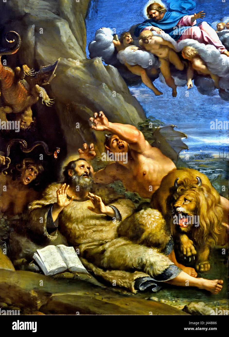 Le Christ apparaissant à Saint Antoine Abbé pendant sa tentation 1598 Annibal Carrache1560 - 1609 Italie Photo Stock