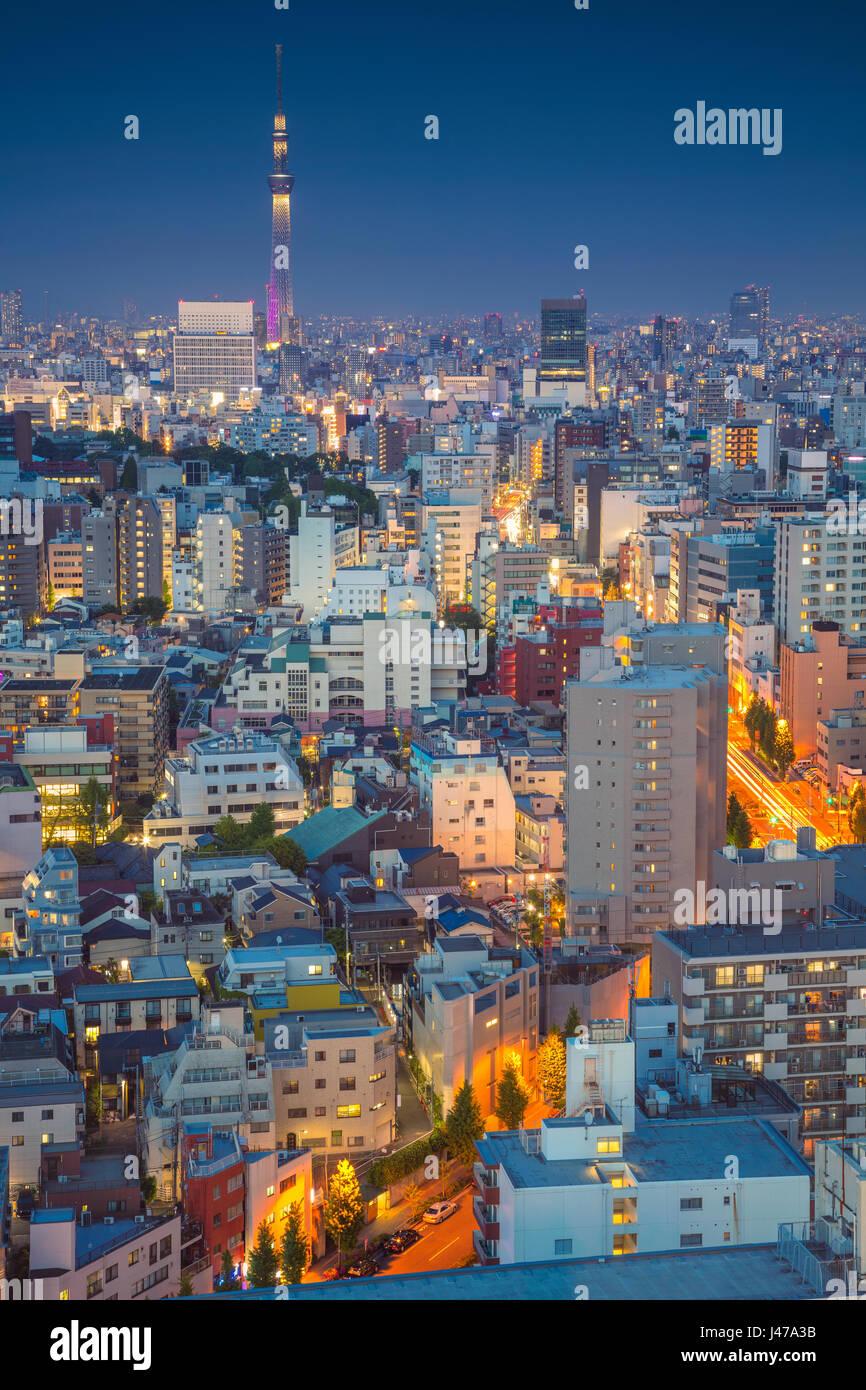 Tokyo. Cityscape image de toits de Tokyo pendant le crépuscule au Japon. Photo Stock