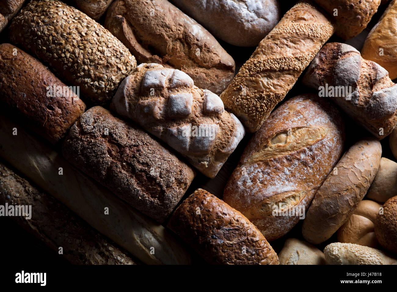 Produits de boulangerie. Pain mixte top view studio photos. Photo Stock