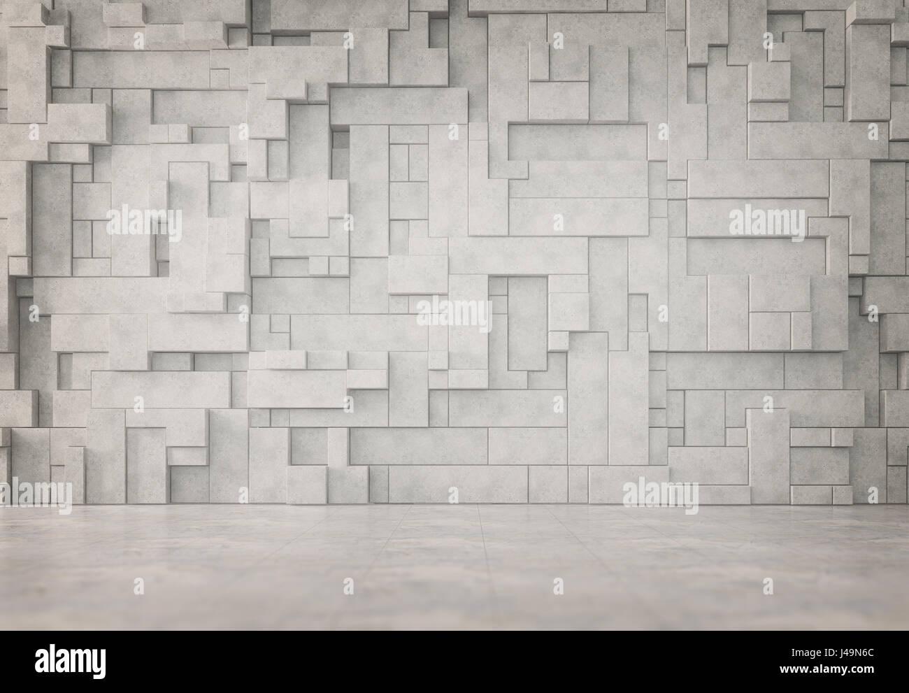 Résumé intérieur avec un modèle mur 3D Banque D'Images