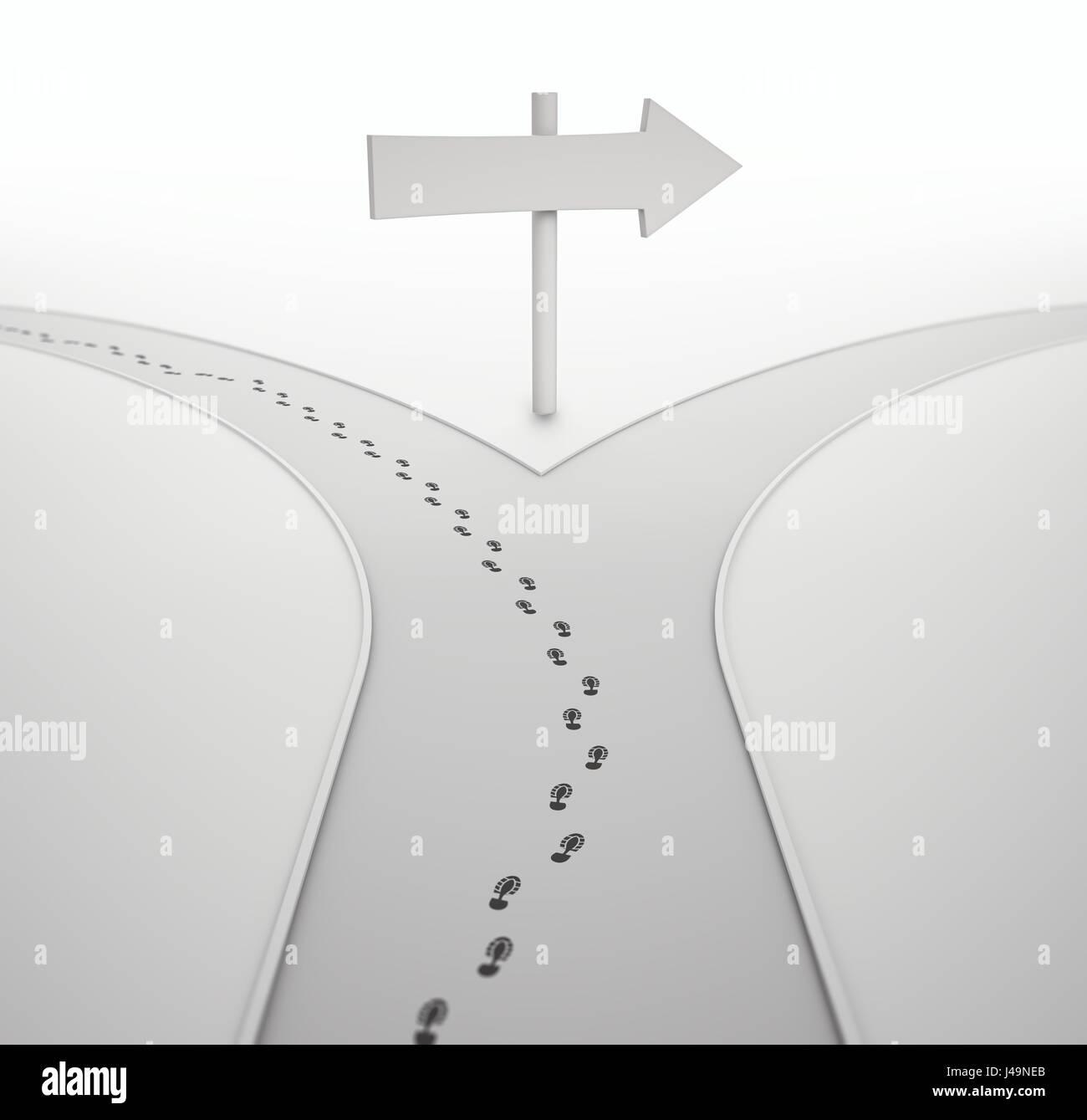 Sur la croisée des chemins - l'individualité concept 3D illustration Photo Stock