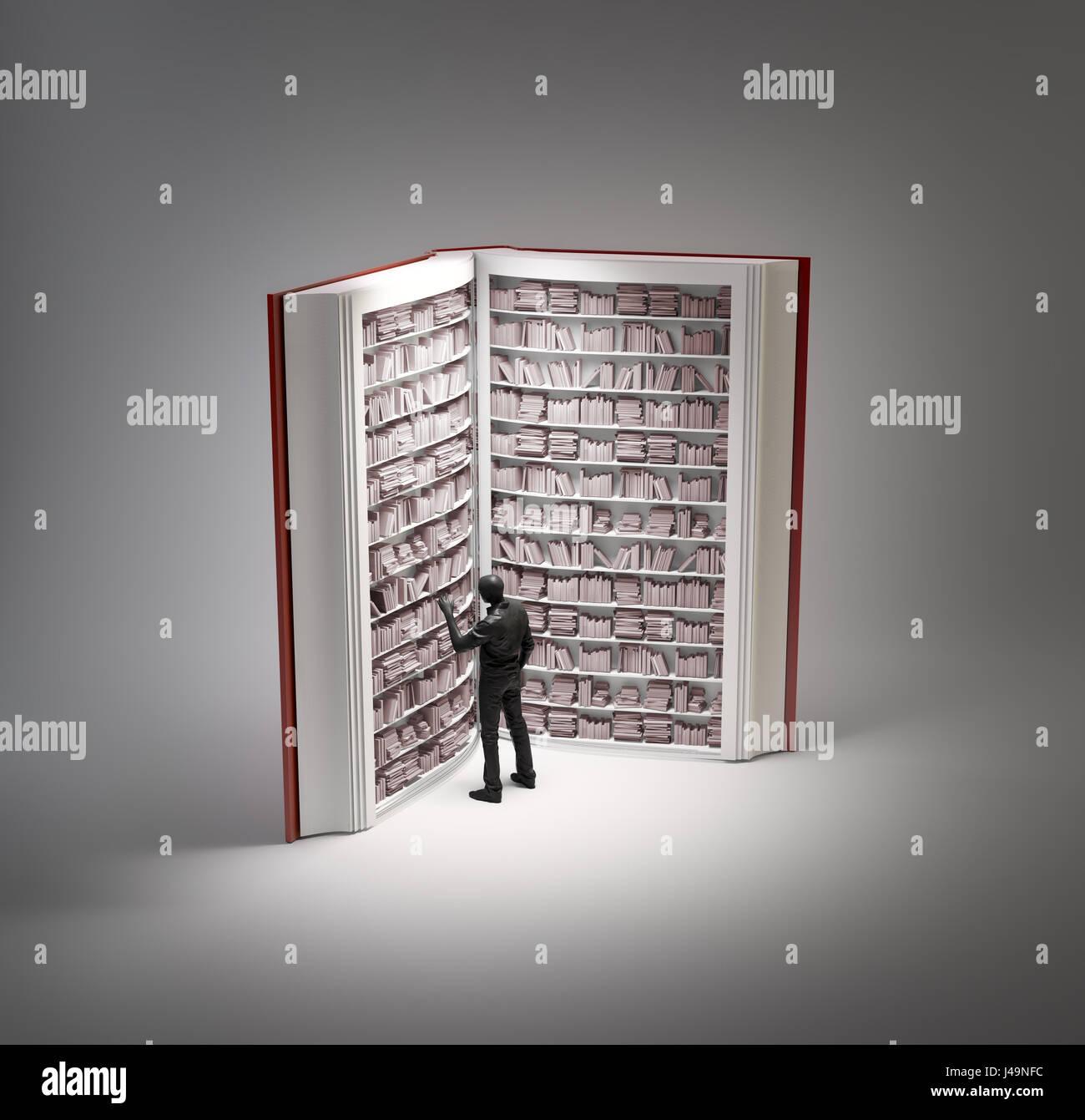 En forme de livre - bibliothèque 3d illustration Photo Stock