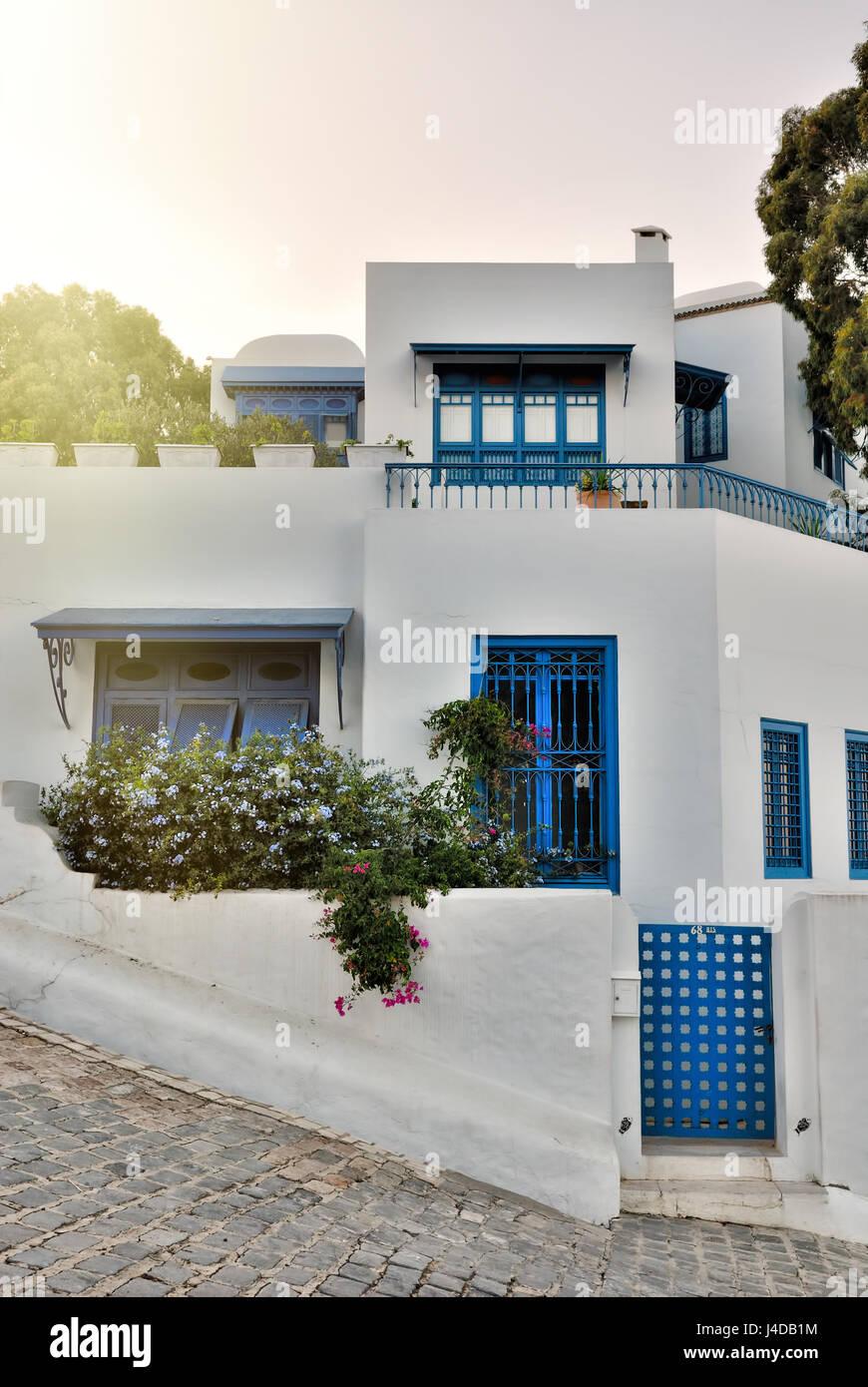 Vue du coucher de Sidi Bou Said villa, Afrique, Afrique du Nord, Tunisie, Sidi Bou Said Photo Stock