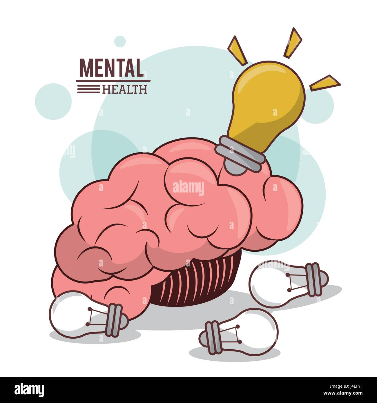La santé mentale, les droits de l'idée de l'ampoule du cerveau l'esprit d'innovation Photo Stock