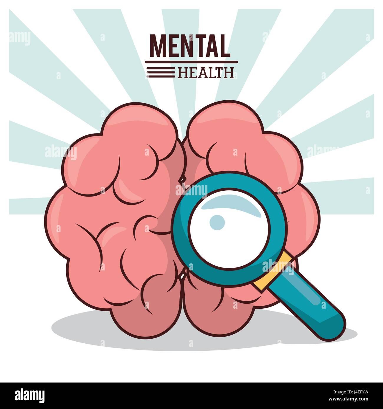 Santé mentale, cerveau humain avec loupe de droit Photo Stock