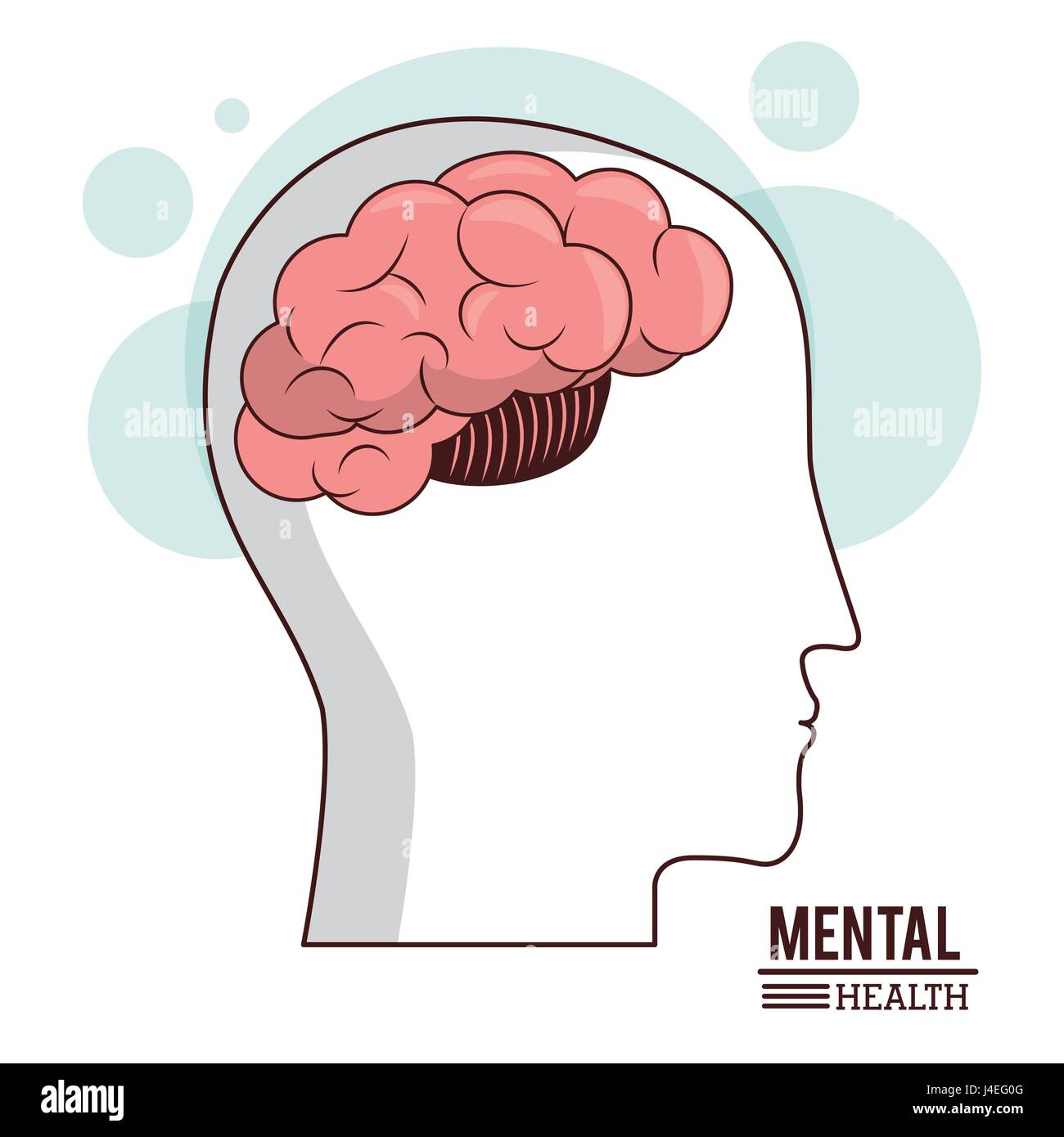 La santé mentale, les droits de la santé de cerveau tête concept médical Photo Stock
