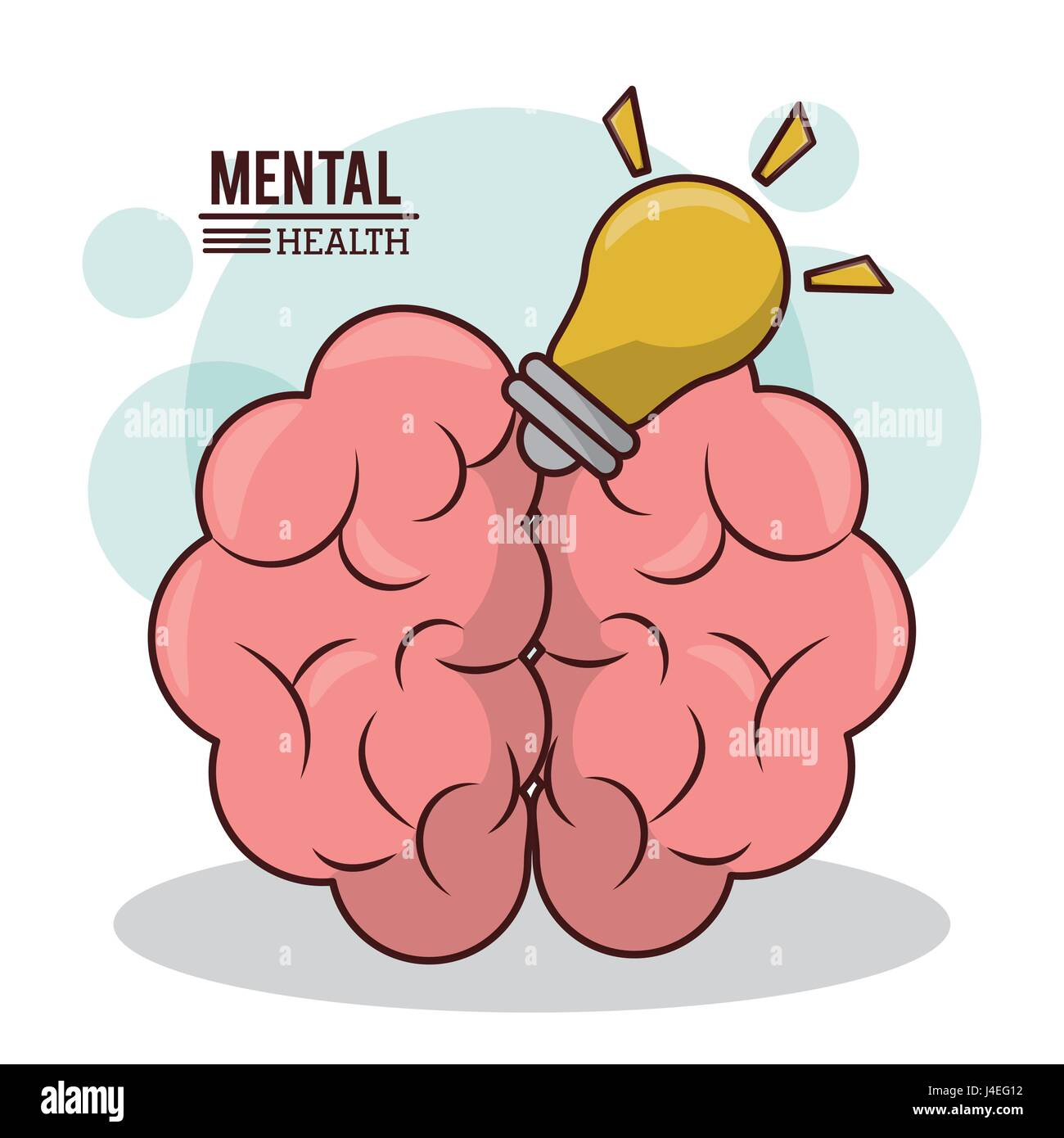 La santé mentale, l'idée de cerveau l'esprit d'innovation lampe design Photo Stock