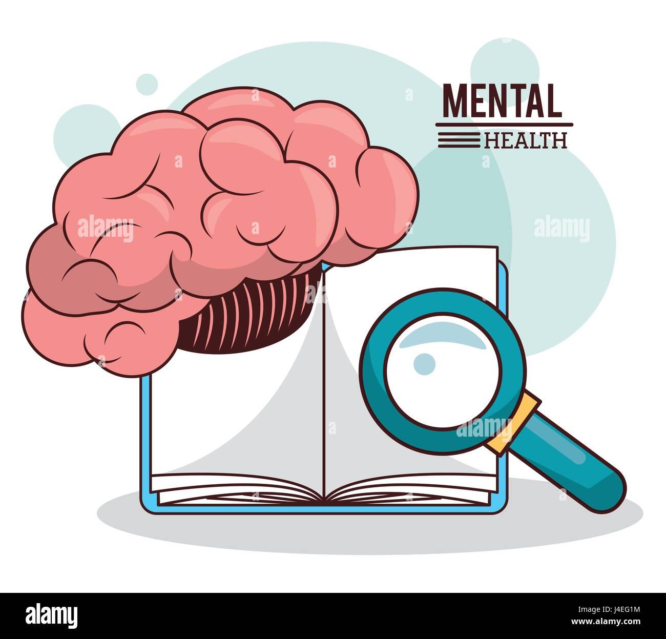 La santé mentale, le cerveau livre connaissances loupe Photo Stock
