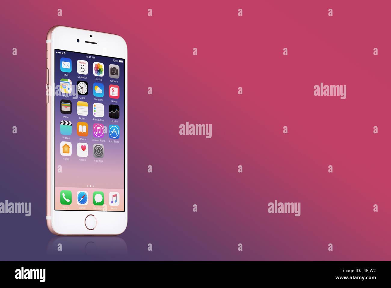 L Or Rose Apple Iphone 7 Avec Ios 10 Sur L Ecran Sur Fond