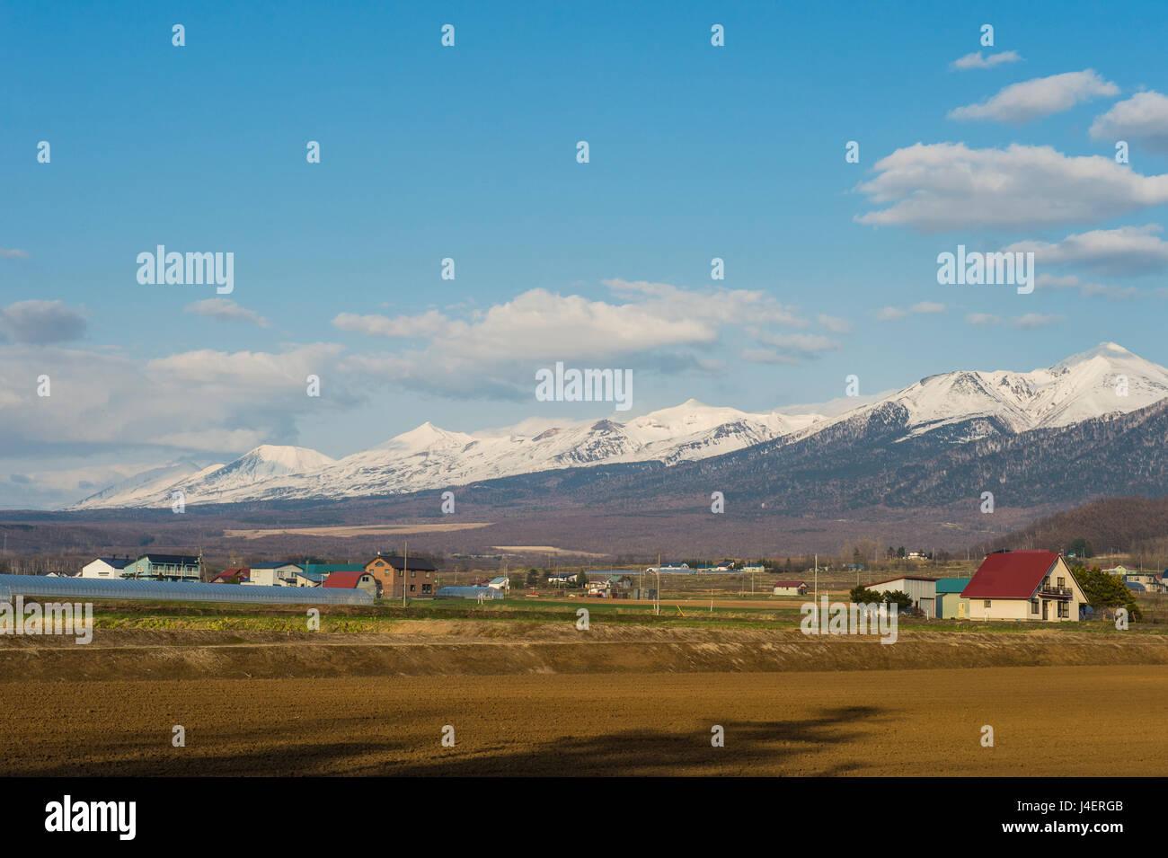 Les terres agricoles au-dessous de la montagne du Parc National de Daisetsuzan, UNESCO World Heritage Site, Furano, Photo Stock