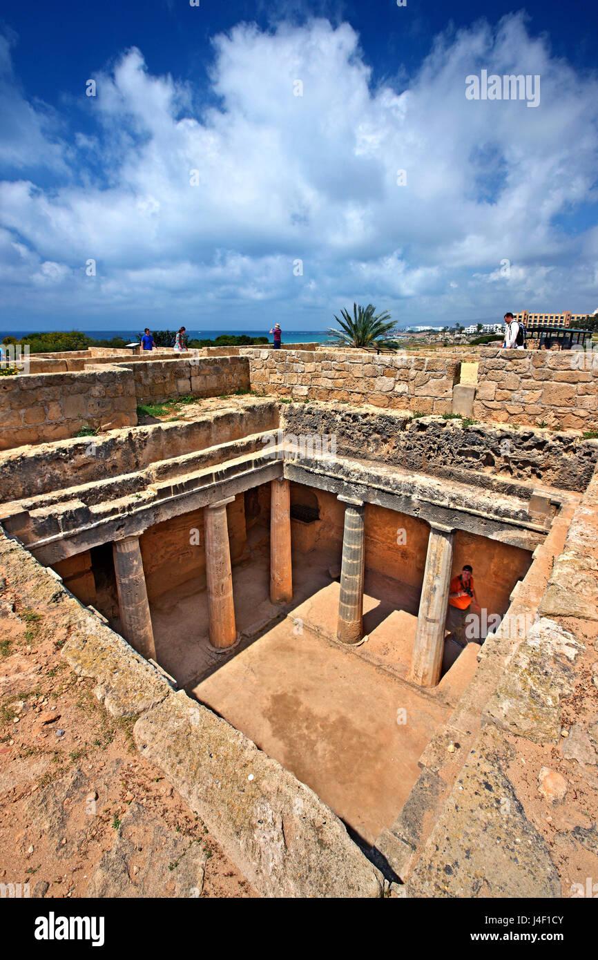 Tombe 3, Tombeaux des Rois (Site du patrimoine mondial de l'UNESCO), Paphos, Chypre. La ville de Paphos est Photo Stock