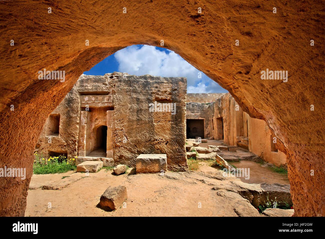Tombes des rois (site du patrimoine mondial de l'UNESCO), Paphos, Chypre. La ville de Paphos est une des 2 capitales Photo Stock