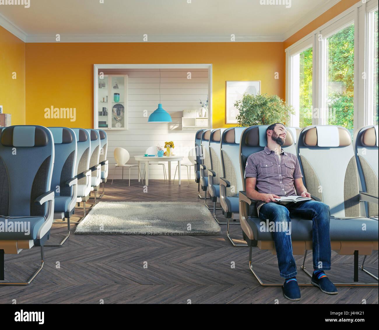 Un avion classe affaires des sièges dans la salle. Transport de VIP concept. Combinaison de photo Photo Stock