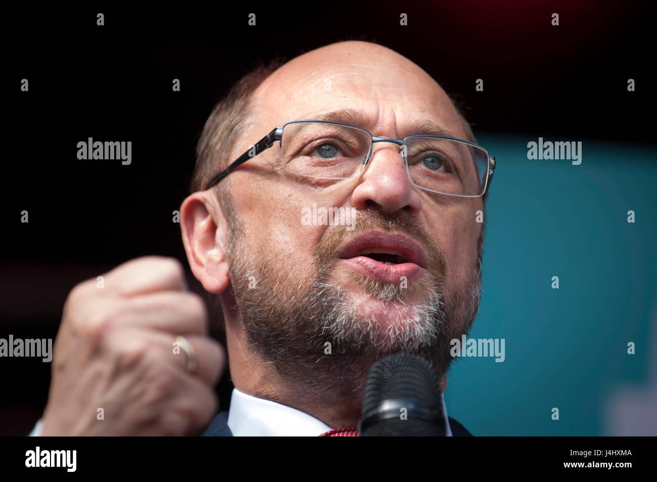 Martin Schulz, leader du SPD en Allemagne lors d'un rassemblement du parti à Duisburg. Photo Stock